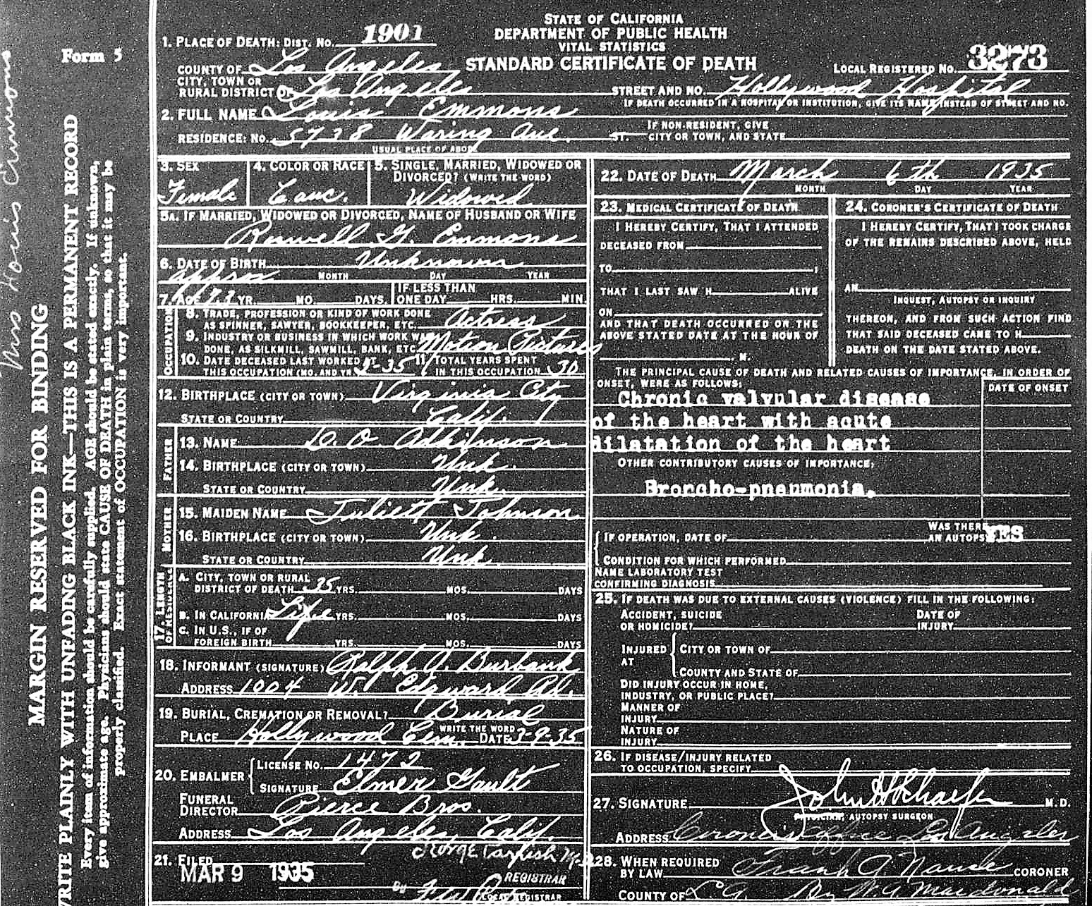 Hollywood history hollywoodland louise emmons death certificate her mother is listed as juliet johnson however she was her maternal grandmother her mother was mary johnson 1betcityfo Images