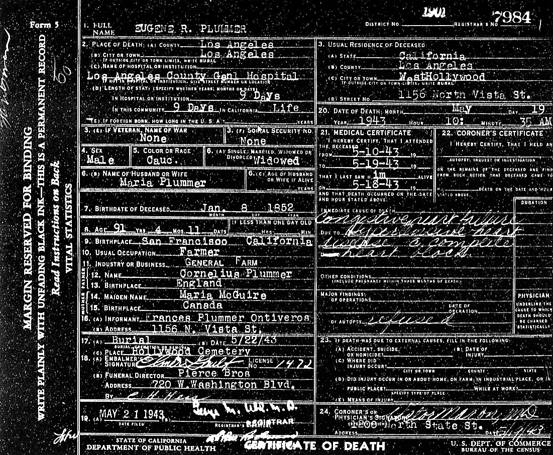 Hollywood history hollywoodland eugene plummers death certificate click on image to enlarge 1betcityfo Images